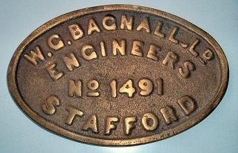 W.G.Bagnall Engine plate number 1491 Isabel