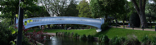 Bridge crossing the river Sow in Victoria Park, Stafford